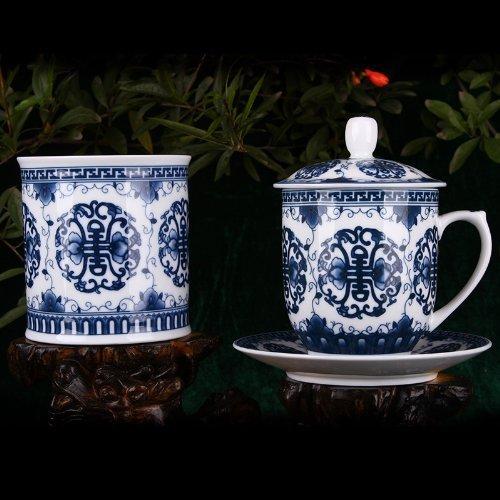 Snowwolf 雪狼 景德镇青花瓷笔筒 茶杯 茶碟 创意 多功能 时尚 唐寿纹办公三件套 QL-图片