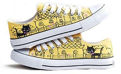 卜丁 手绘鞋 涂鸦鞋 手绘帆布鞋 单鞋 黄色帆布鞋女 城堡猫猫
