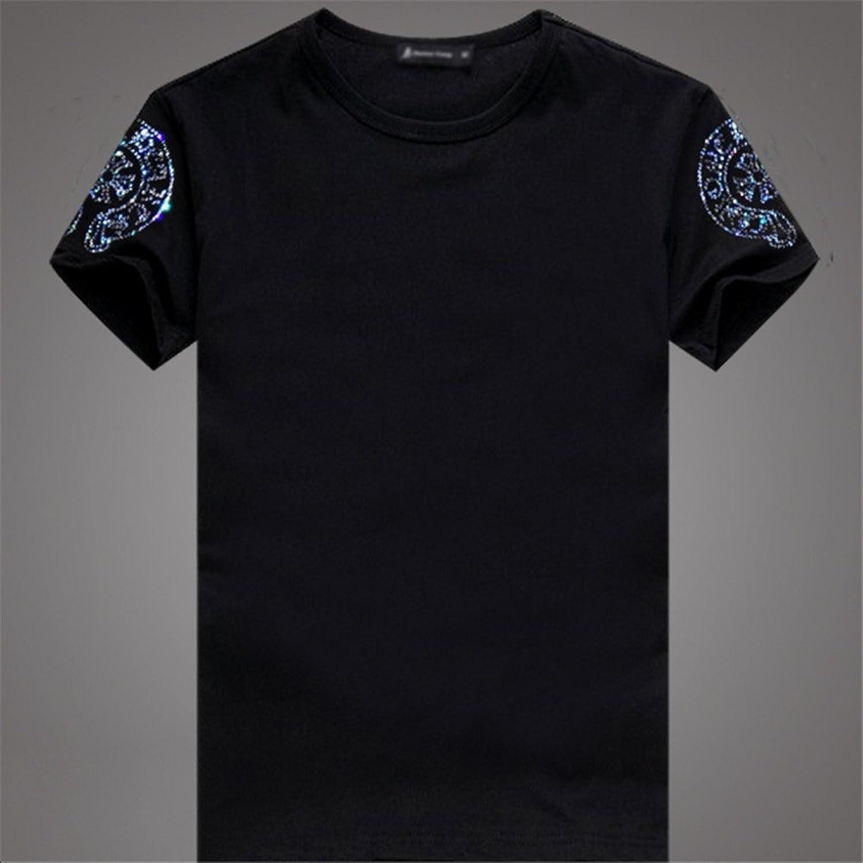 杰西贝尔 克罗心 潮牌新款t恤男十字花纹图案 情侣烫钻t恤短袖t恤男装