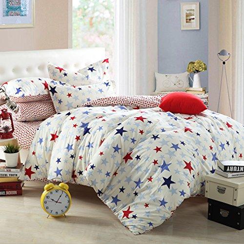 维众家纺 全棉斜纹双人床单被套四件套 小星星 1.5m/1.8m床适用