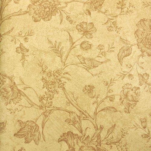 中式风景花鸟田园墙纸书房卧室客厅背景墙壁纸仿皮纹