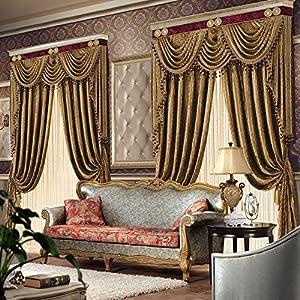 高档欧式绒布窗帘客厅高窗别墅环保窗帘