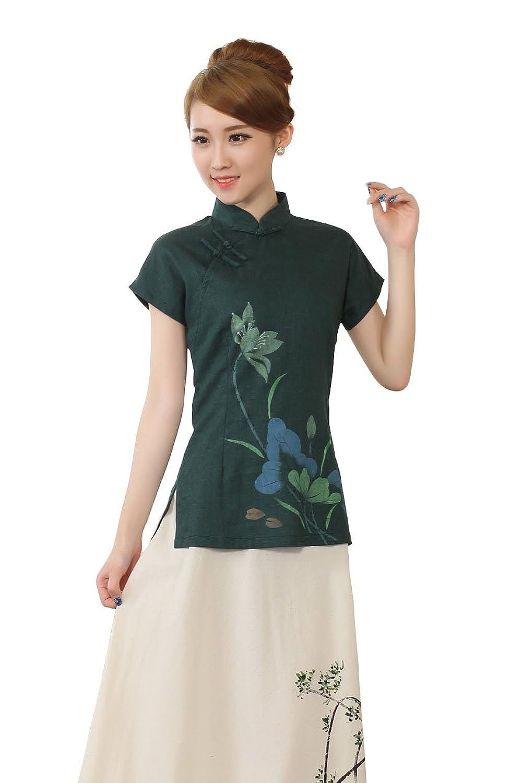 中国风手绘旗袍领上衣