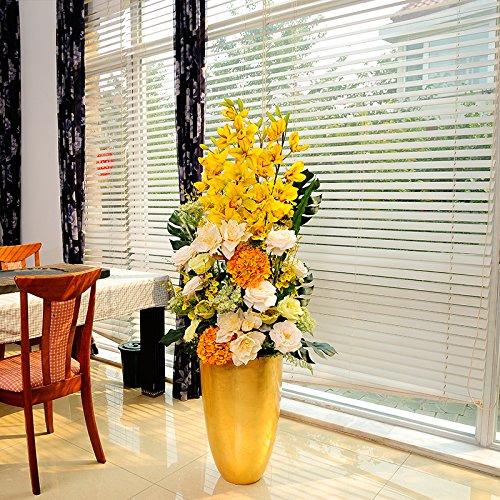 西尚玫瑰大型落地花艺陶瓷落地花瓶家居客厅摆件落地仿真花艺套装 80