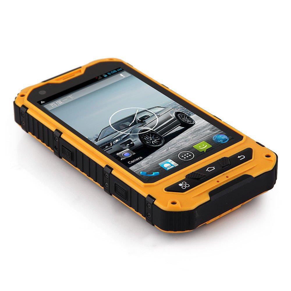 Rhinoking 犀牛王 A8 4寸双卡双待 双核三防智能手机 Android 4.2.2 IP67户外专用防水 防尘 防摔 智能手机高清摄像头500W 3G WCDMA WIFI 支持北斗导航 GPS 地图 超长续航 (黄色): 手机/通讯