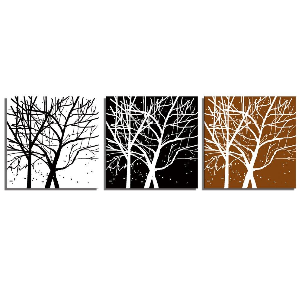 视觉美 室内装饰画背景墙无框联画发财树三联画xmsjm-013 白色/白色