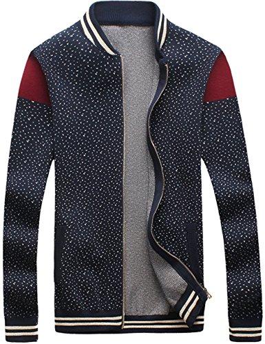 UYUK夹克 男士外套男装精品立领针织棒球衫百搭外套男士休闲开衫毛衣W350