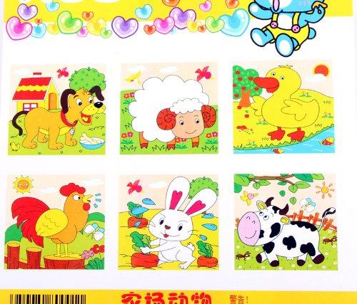 儿童卡通 木制六面画9粒方块积木立体拼图益智玩具 拼图玩具 农场动物