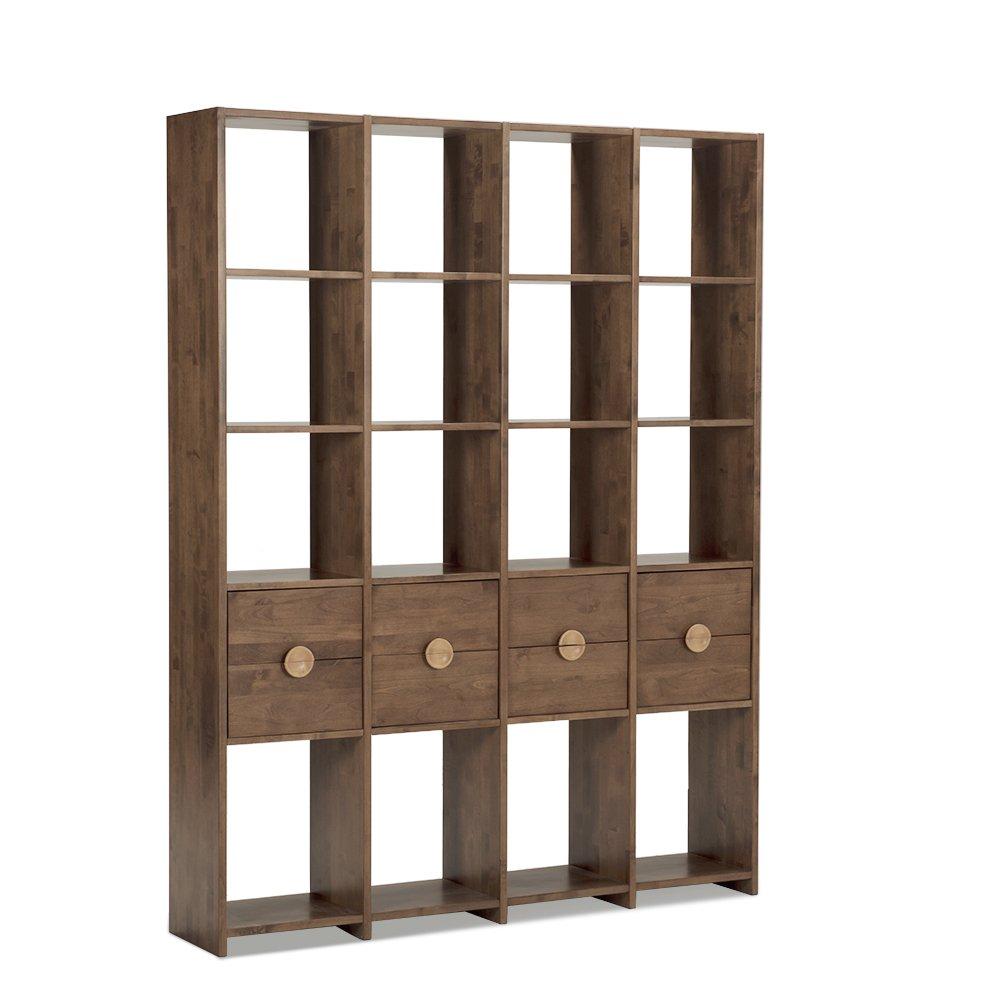 木头公园北欧现代简约客厅书房实木书柜赤桦木书架层柜