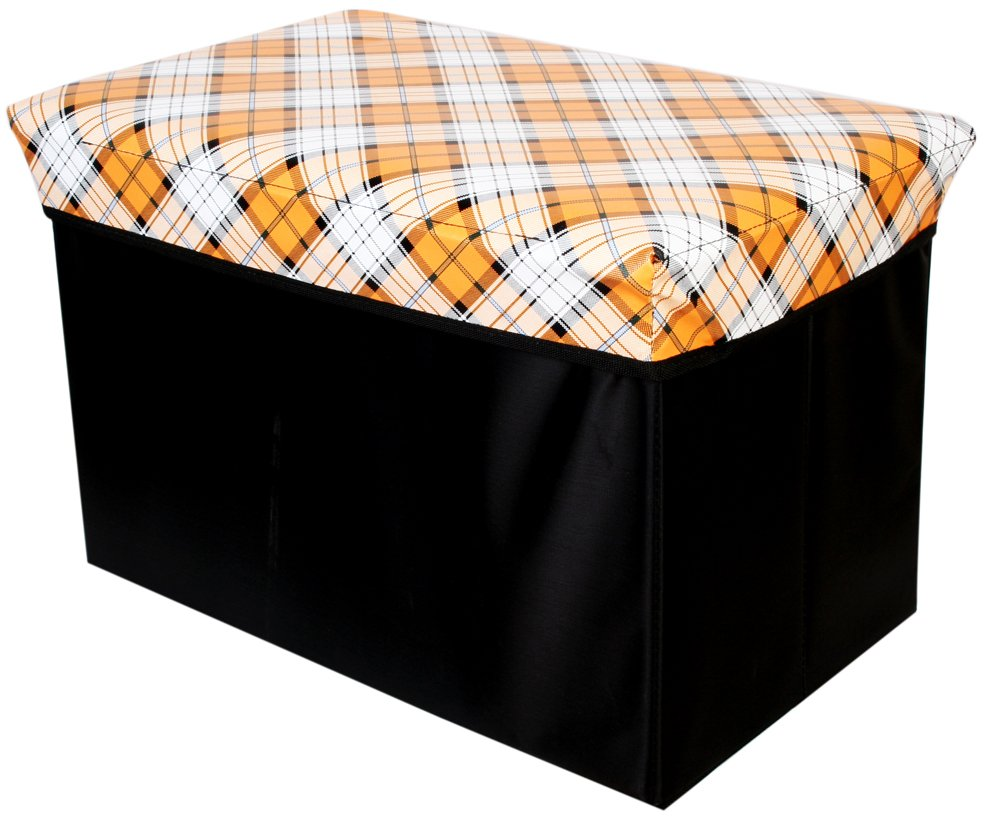 青苇时尚长方形收纳凳sh22格子桔色