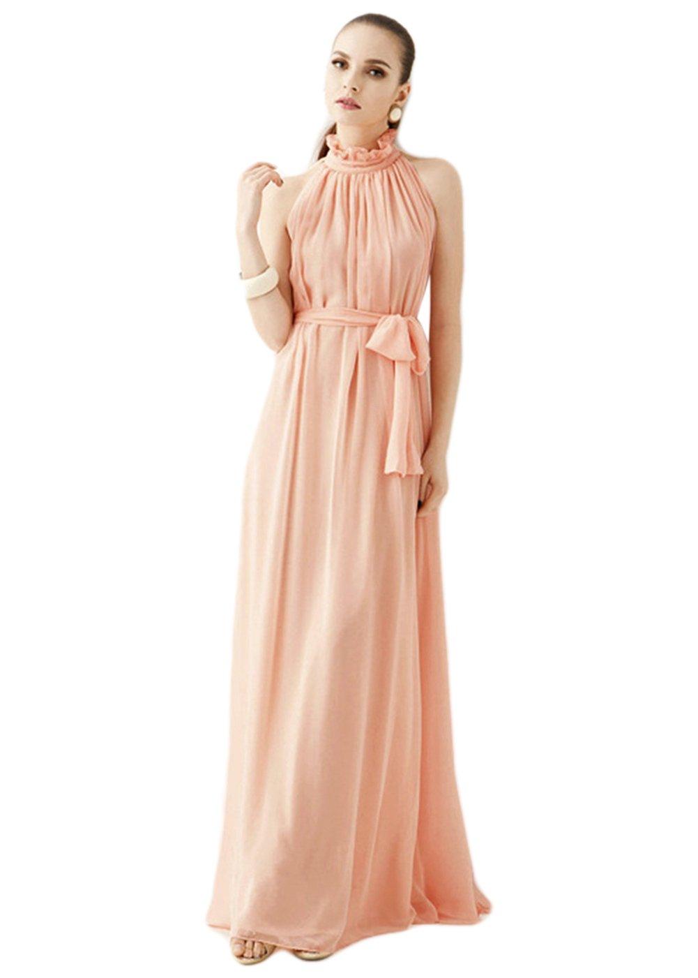 女性削肩立领连衣裙墨绿色/粉色