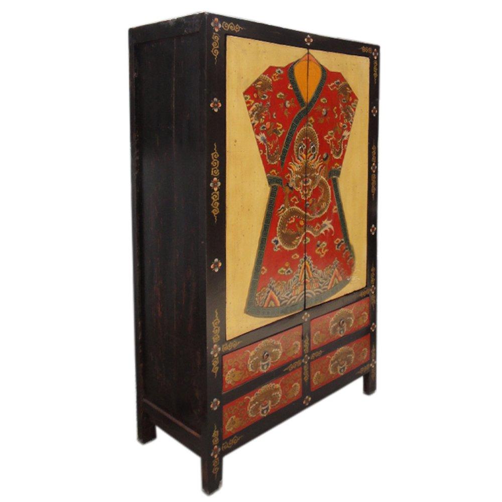 明清古典金色手绘古装龙袍彩绘大衣柜立柜储