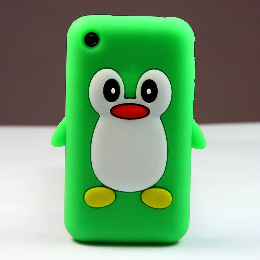 苹果 iphone 3 3g 3gs 手机壳 手机套 硅胶 企鹅 绿色   屏保