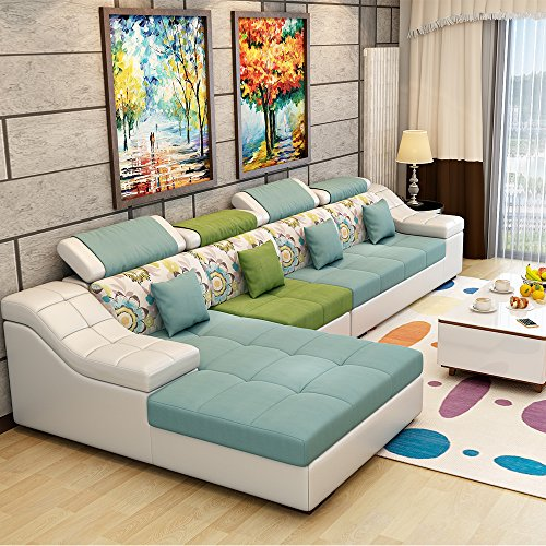 (6色可选)现代时尚沙发 布艺沙发组合 简约现代款式新颖 皮布沙发皮艺