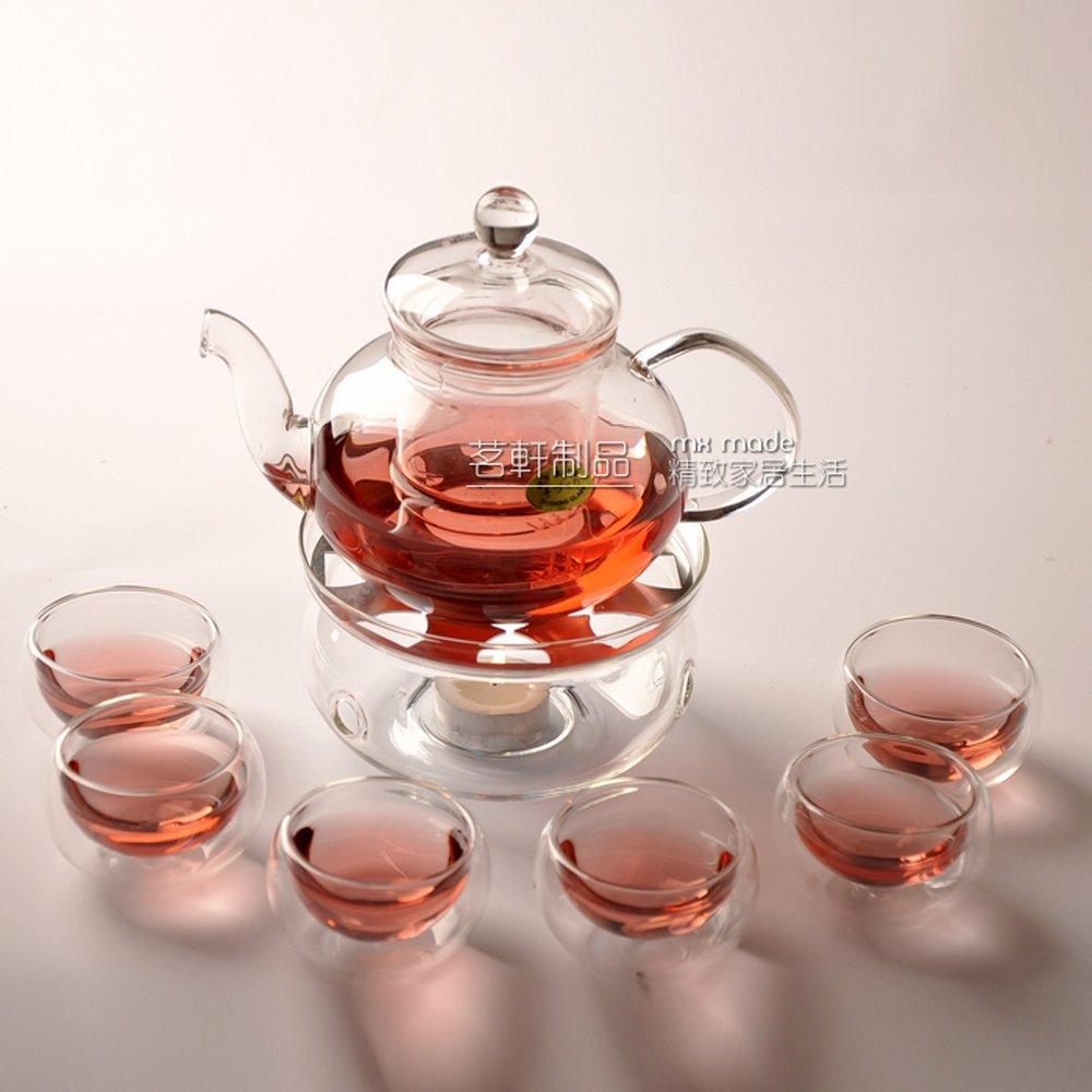mxmade 茗轩 耐热玻璃茶具套装花茶壶8件套600ml(一壶