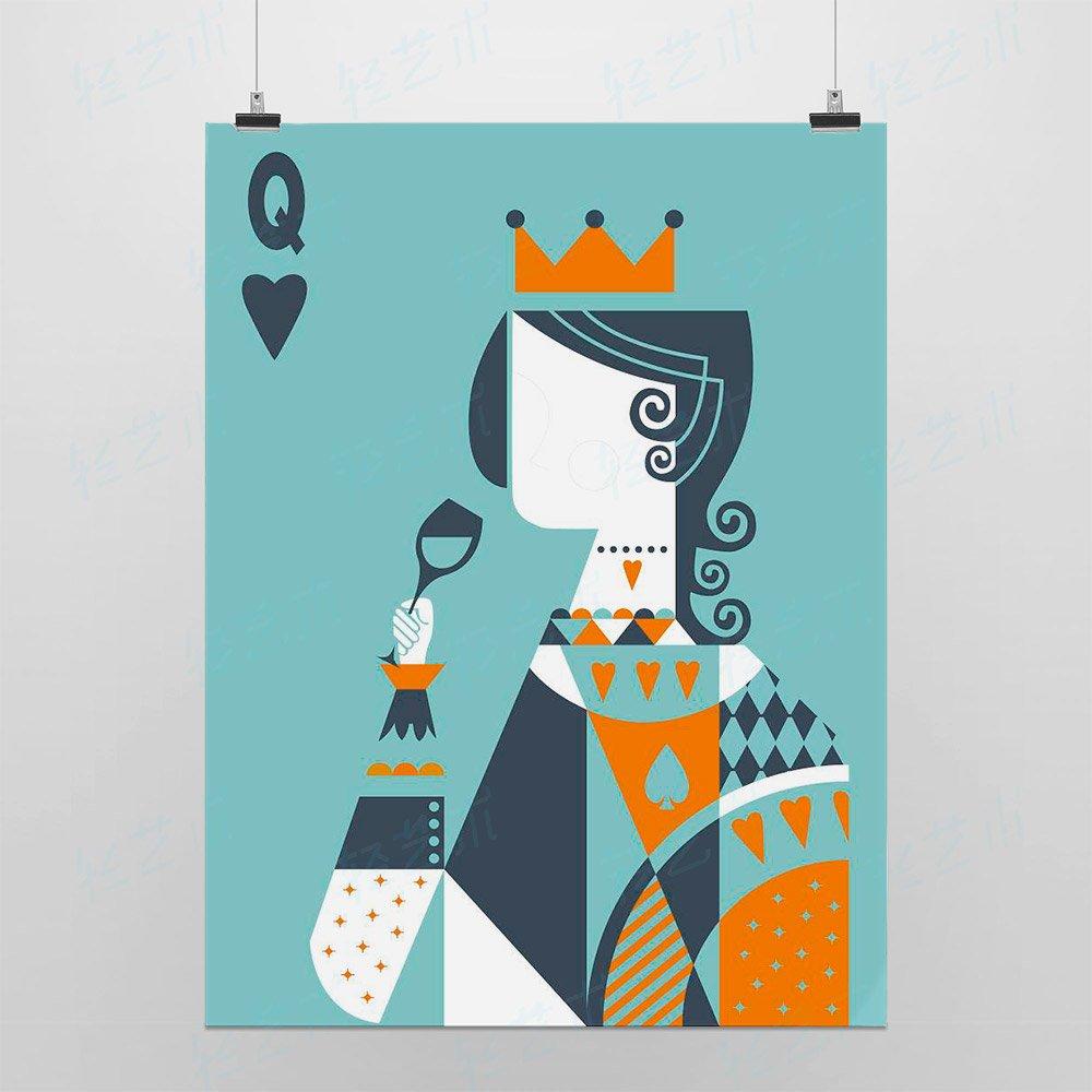 艺术囹�a�b&��#�+���_light art 轻艺术 创意插画 国王皇后 b款 简约抽象扑克牌图片海报