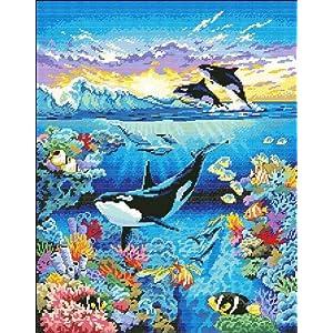 万众家园 十字绣 客厅动物画 深海世界 海洋世界 14ct