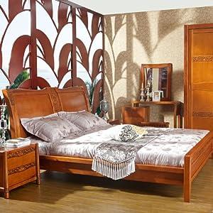 东南亚风格新中式纯实木楸木卷草纹雕花大床
