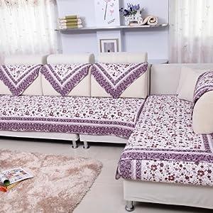 伊恋娇 欧式沙发垫 纯棉沙发坐垫 田园沙发巾 沙发罩 布艺 坐垫子 紫色-林间花海 90*210cm