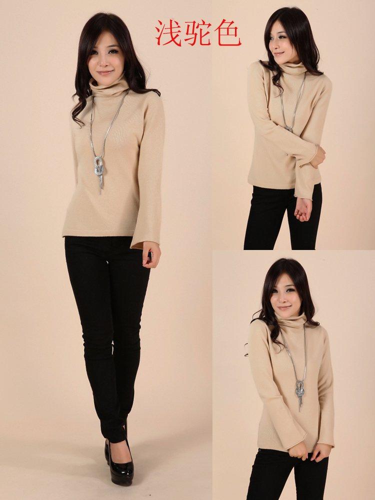 绒运利达 女装女士秋冬 长袖纯色高领翻领立领喇叭袖羊绒衫 时尚韩版图片