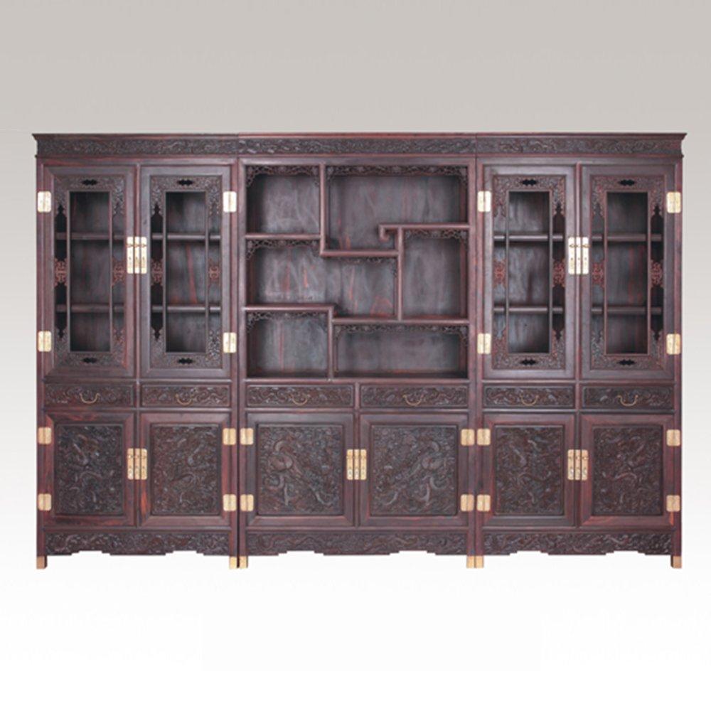 小叶紫檀书柜三件套 印度小叶紫檀中式展示柜 檀香紫檀古典酒柜
