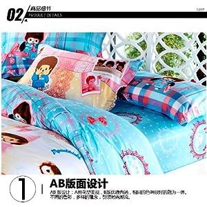 四件套可爱卡通儿童纯棉床品套件被套床单枕套学生套件 (宝贝蒙奇奇)