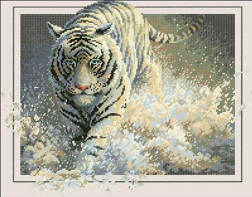万众家园 十字绣 客厅动物画 踏浪老虎 14ct 朵拉线 2