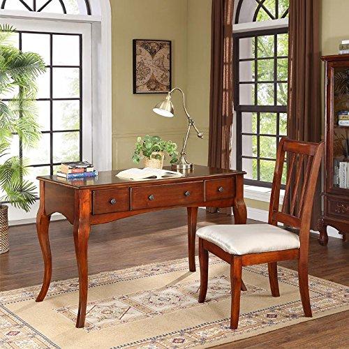 斯洛梵欧式电脑桌简约书房写字桌 美式实木书桌 (书桌椅组合)图片