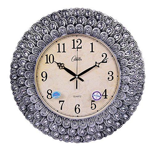 康巴丝 挂钟 镶钻版孔雀尾挂钟 客厅静音挂表欧式创意时钟2790b 银色