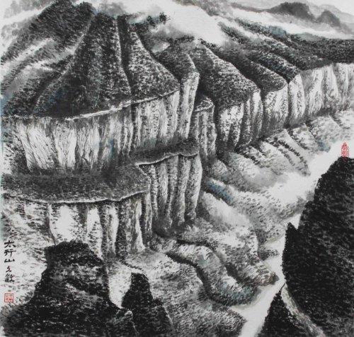 锦翰堂 文敏 国画山水 太行山 仿油画黑白中式现代简约有框画 GHSS图片