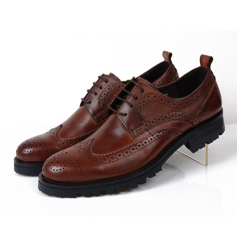 tony walker 汤尼沃珂 男士圆头低帮复古时尚皮鞋英伦真皮鞋系带厚底