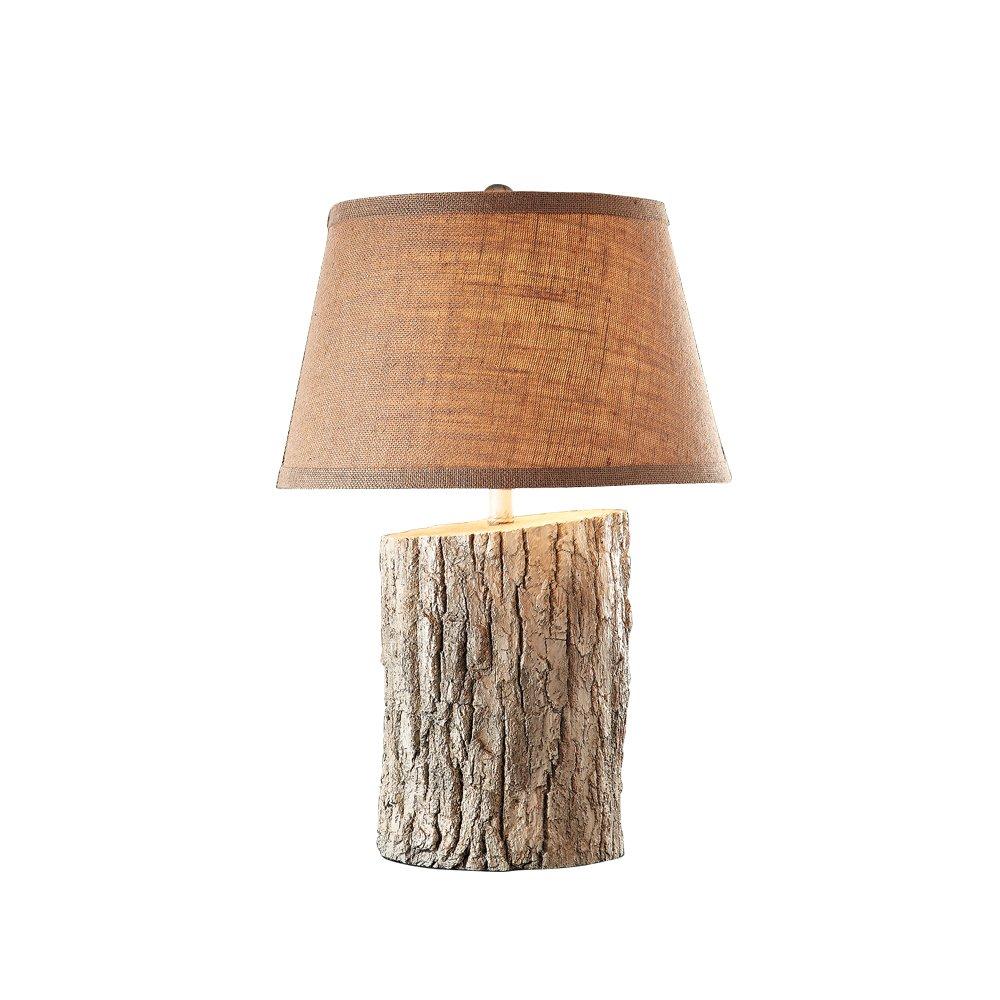 白色仿古仿木头台灯