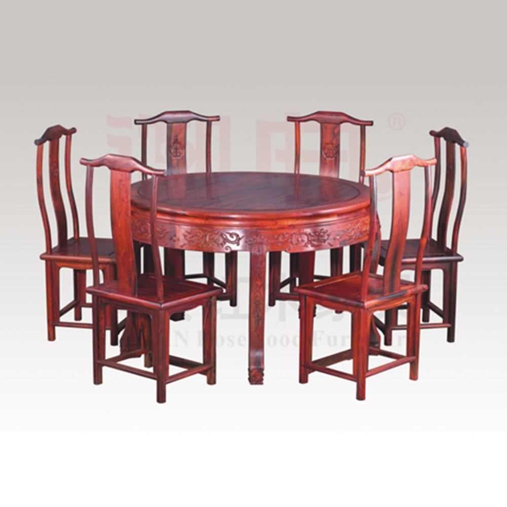 交趾黄檀素面圆餐桌 红酸枝中式餐台