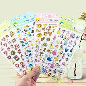 卡通贴纸105张套清单如下   一,立体韩版泡泡贴(尺寸:9*21.