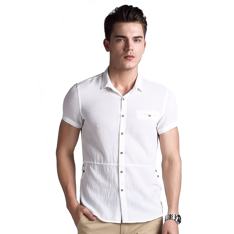 正反面 商务休闲短袖衬衫