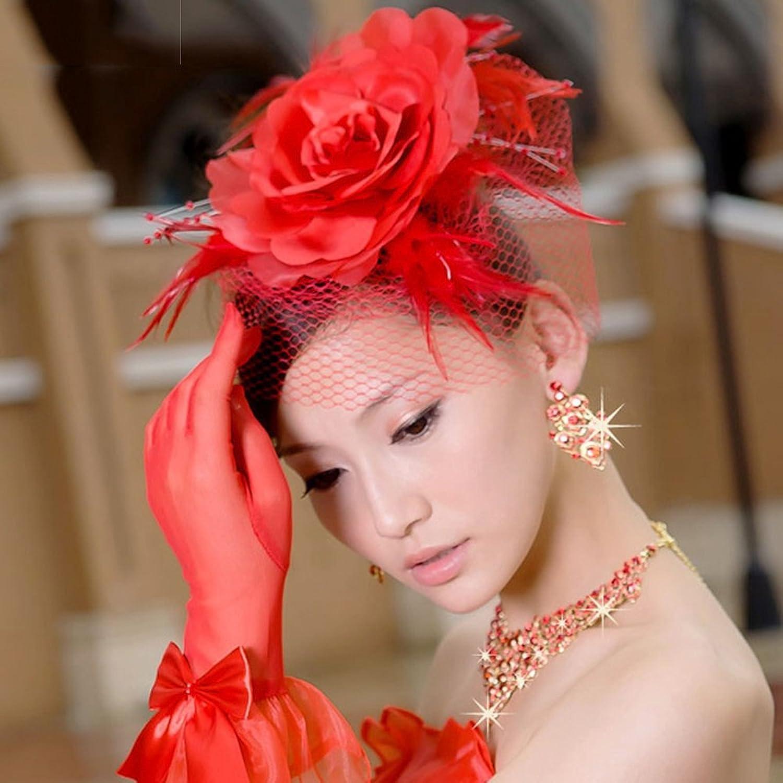 黛米琦 红色头花头饰新娘结婚婚纱礼服演出 影楼写真拍照 造型头花