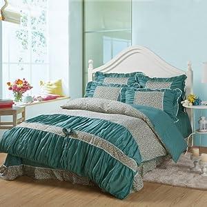 禧多屋 韩版公主 床品套件全棉印花床上用品 床裙花边婚庆四件套 1.5-1.8米床 (安娜花园-兰)