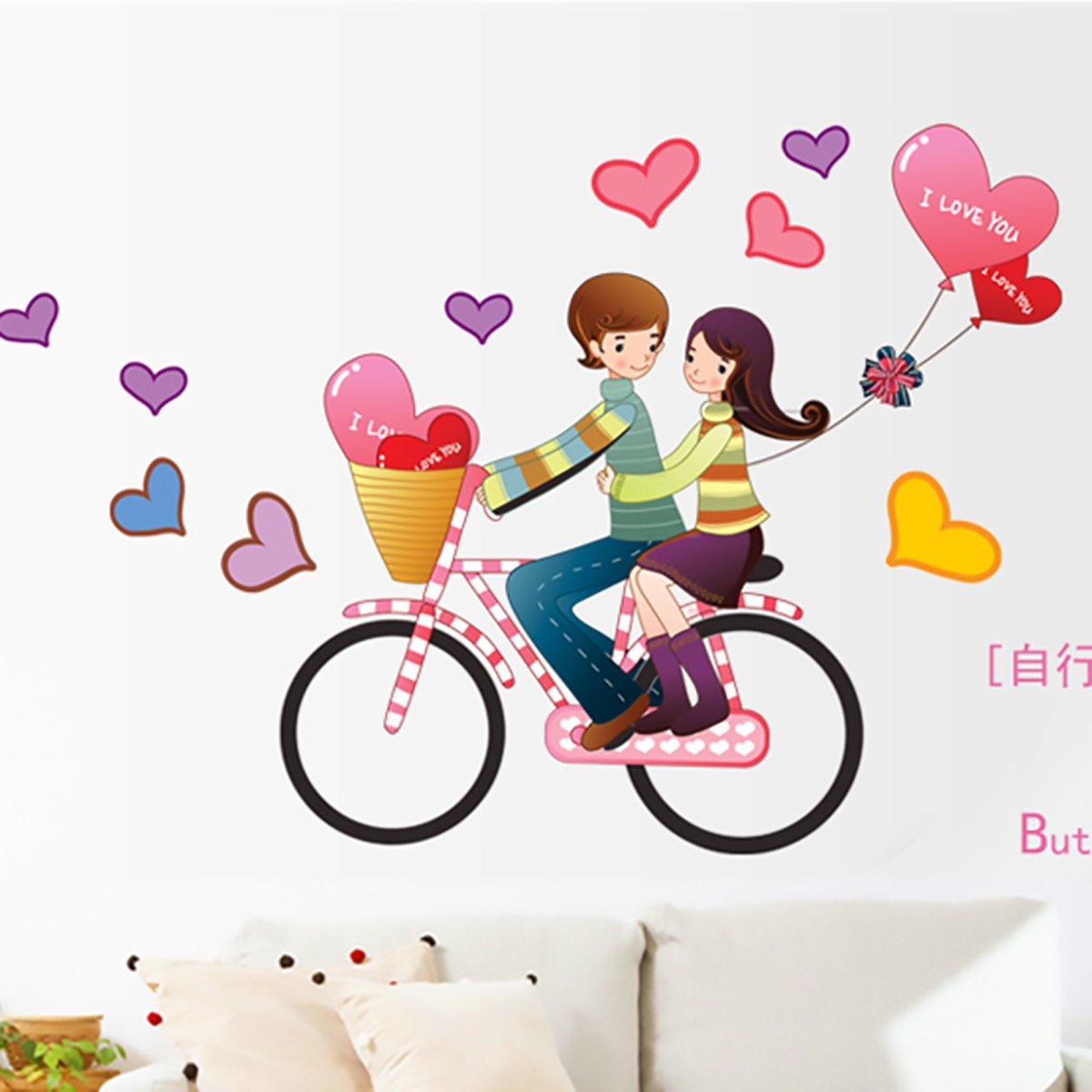 情人节 情侣骑自行车的情侣矢量插画-卡通手绘-素材库-情侣自行车漫画图片