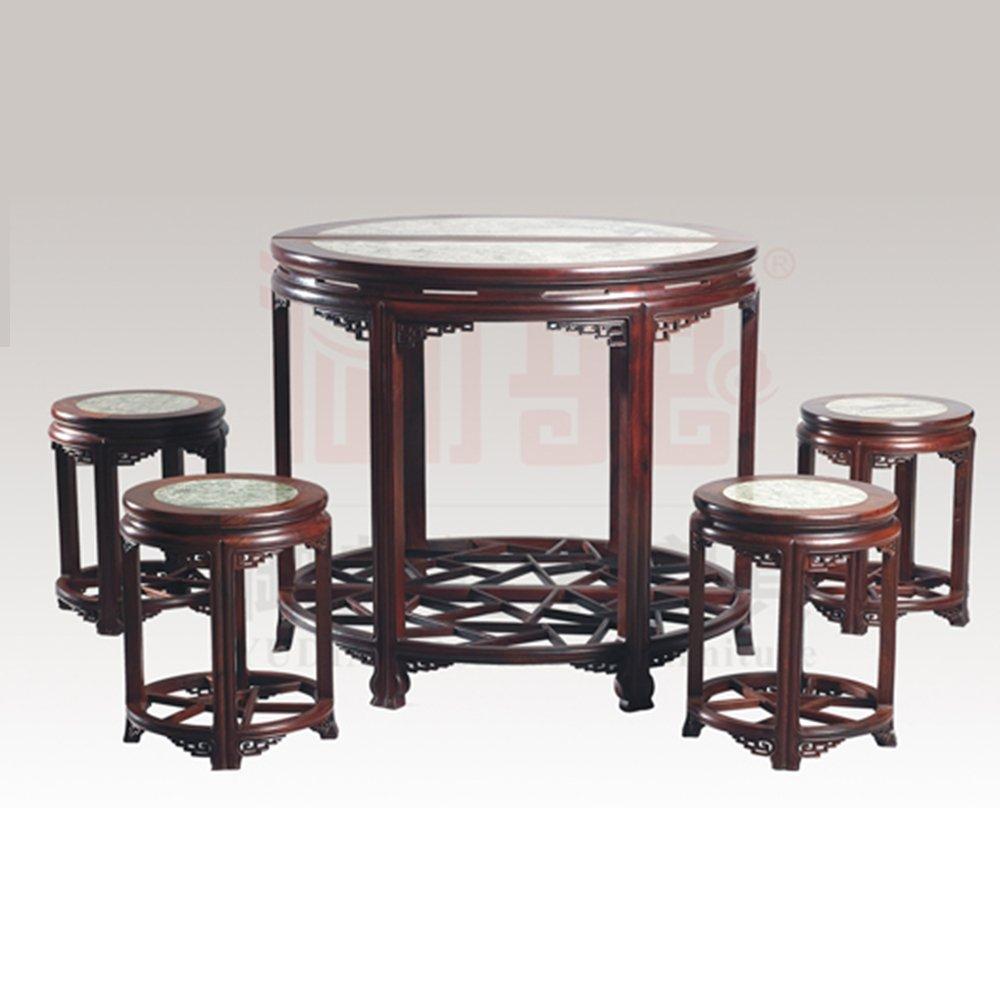 古典明式老挝大红酸枝八角桌椅组合 红酸枝客厅家具 中式红木桌椅组合