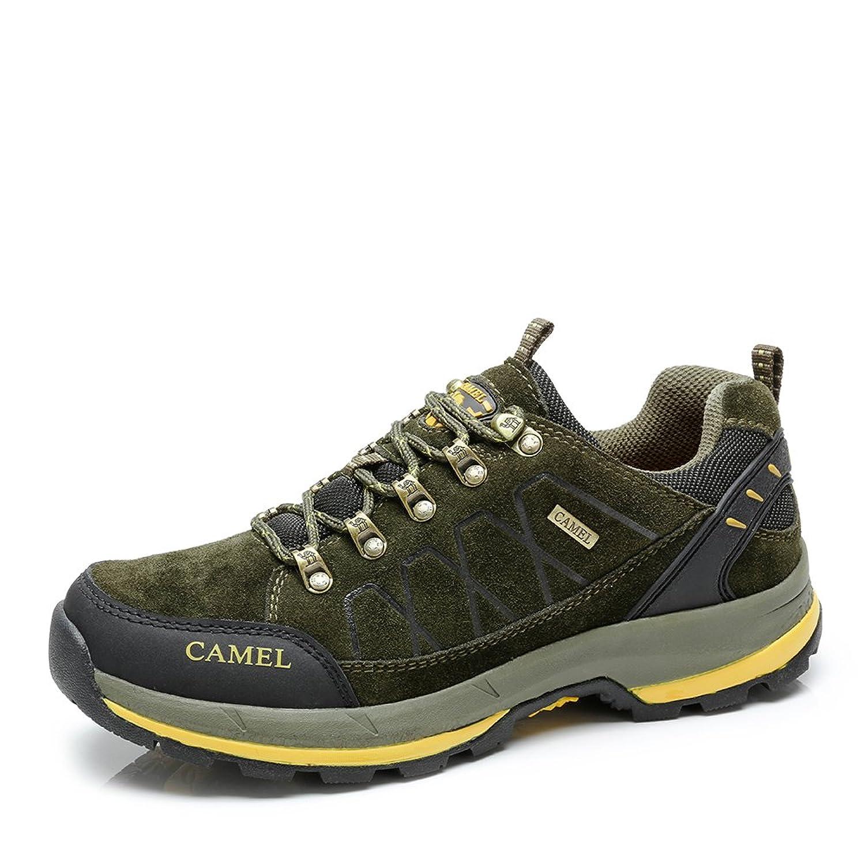 Camel 骆驼 夏季新款户外男鞋 磨砂牛皮系带减震网布登山鞋 A432303055