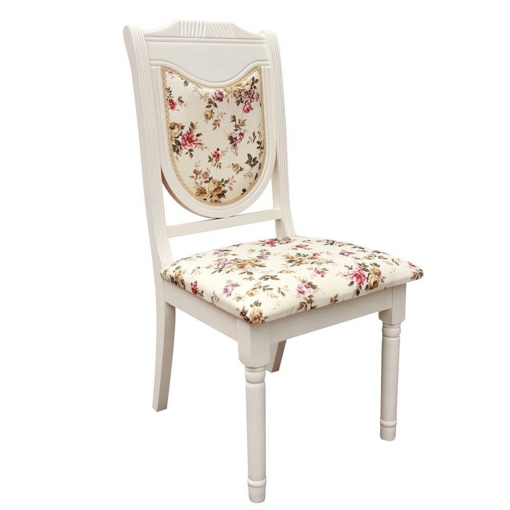益琳 益琳象牙白色田园风格布艺软包椅餐椅电脑椅欧式