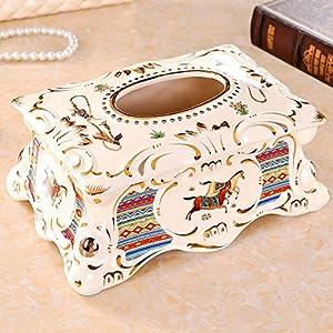 臻爵家饰 欧式复古陶瓷纸巾盒 高档抽纸盒 时尚创意工艺品摆件茶几