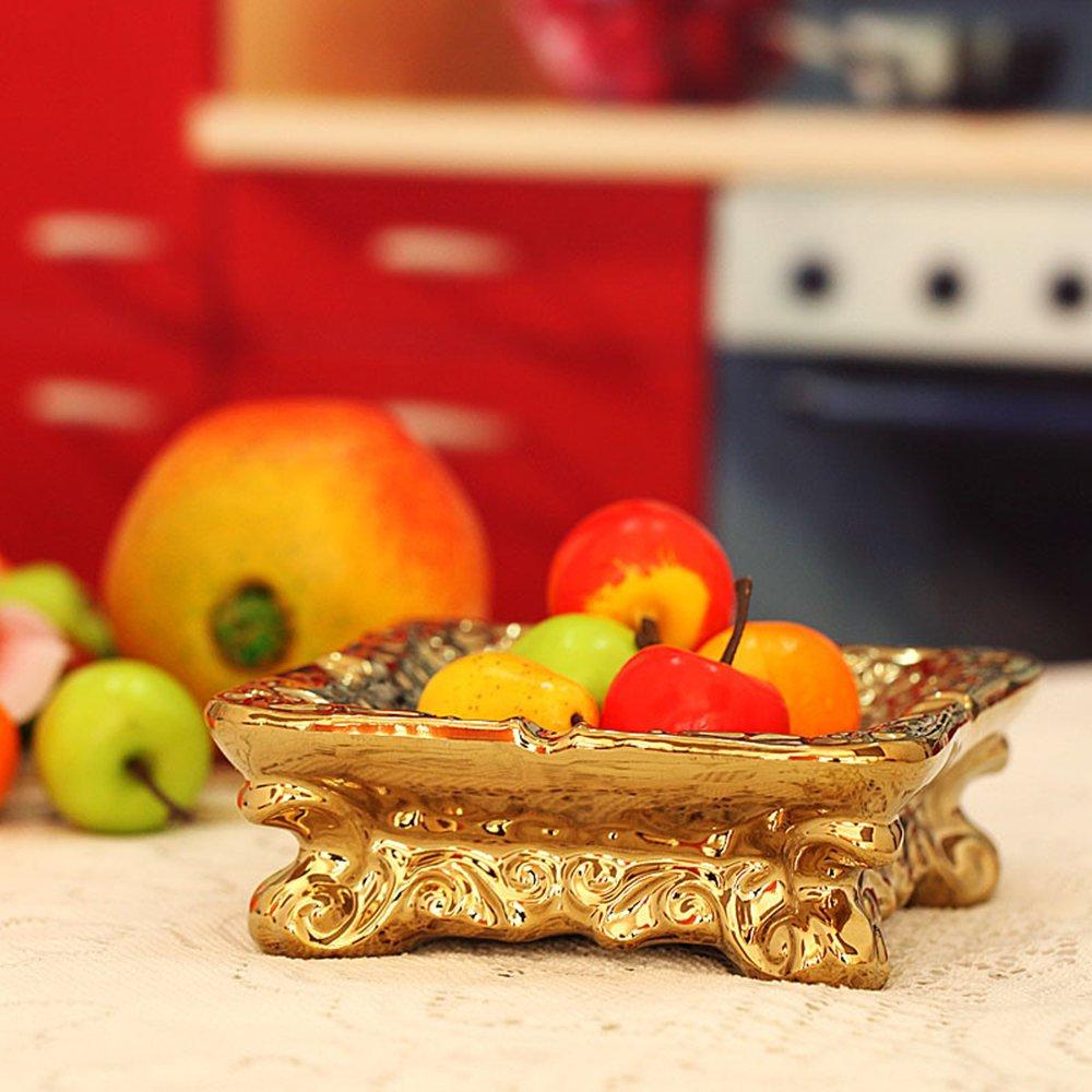 携爱 创意陶瓷 欧美式宫廷复古手绘银色水果盘 糖果盘