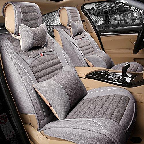 紫风铃 汽车坐垫四季通用汽车座垫布艺仿亚麻汽车座套全包围环保透气