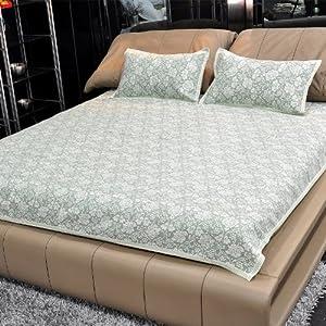 亚麻席 床单双人 亚麻布折叠凉席亚麻凉席三件套绿色提花 (1.8米床)