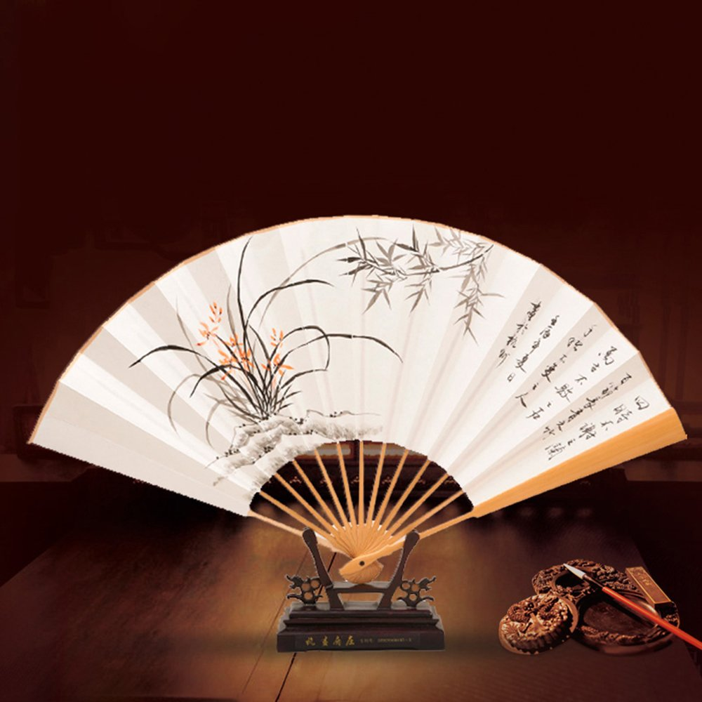 吉善 杭画扇庄 玉竹扇纸扇中国风折扇手绘男扇子教师中秋节礼品扇 兰