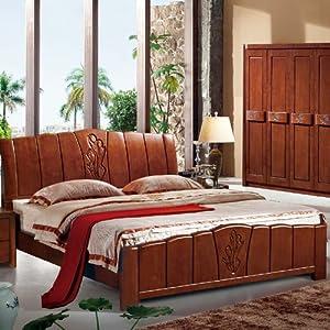 8米大床 全实木双人床 胡桃木床 1800mm*2000mm 普通实木床