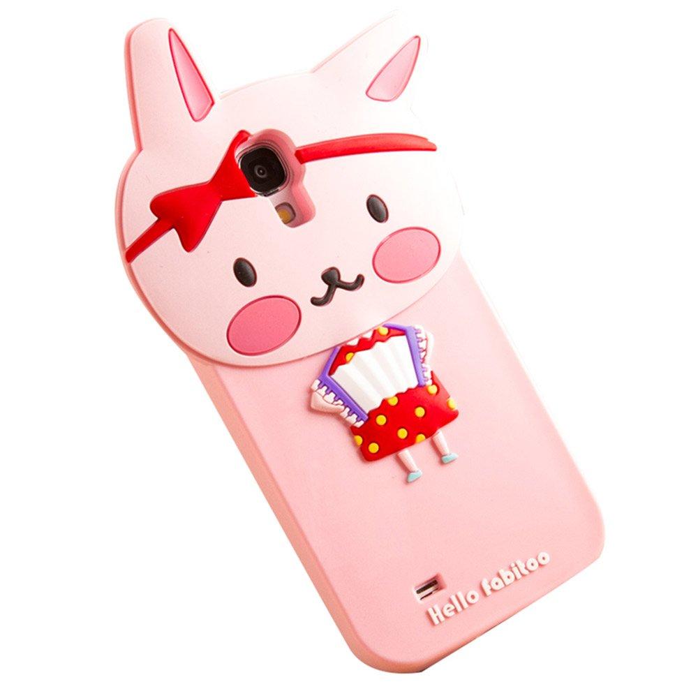法芘兔 三星s4手机壳 硅胶 三星i9500卡通手机套 s4保护套 可爱 粉色