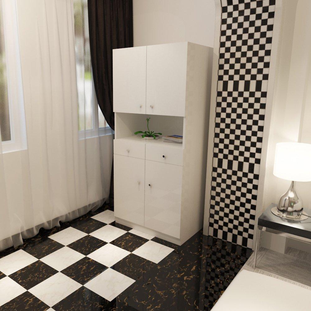 简约现代阳台柜储物柜厨柜餐边四门两抽柜板式厨房收纳柜环保家具(长8
