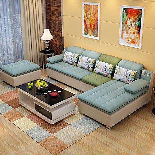 布艺沙发组合 款式新颖简约现代 布沙发转角沙发 客厅家具客厅沙发